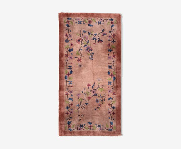 Carpet old Chinese art deco done hand 91cm x 183cm 1920 s