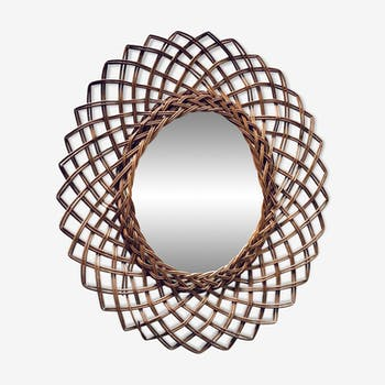 Oval rattan mirror 45x55cm