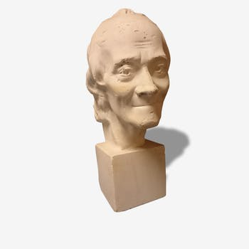 Head of voltaire in plaster