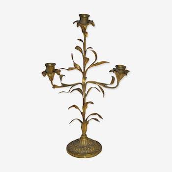 Chandelier décor de feuilles pied bronze