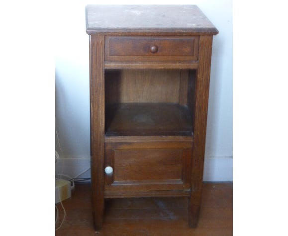 Nightstand wood and pink marble, art deco