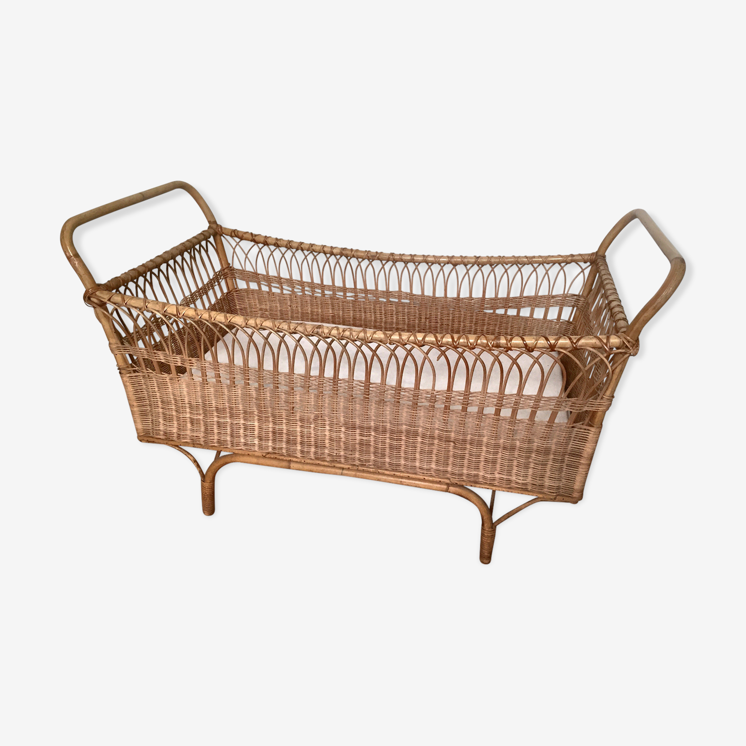 Bed for child with mattress 50/60 year Vintage rattan