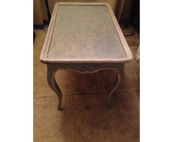 Table basse provençale en bois peint rechampi