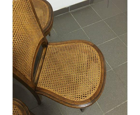 Suite de 4 chaises cannées 1920/1930