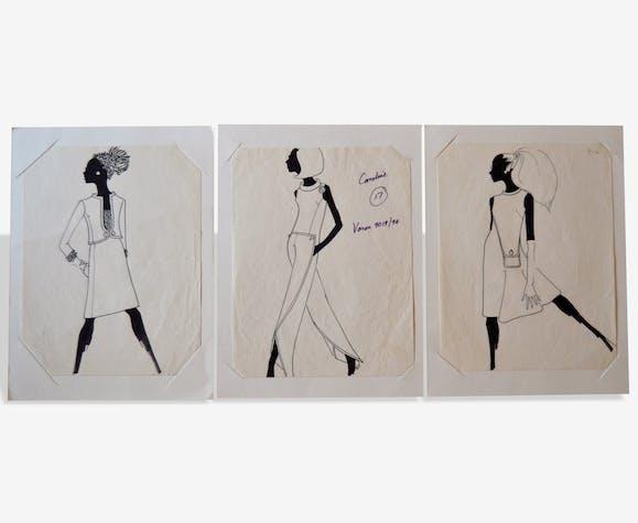 Lot de dessins de mode haute-couture - authentiques vintages