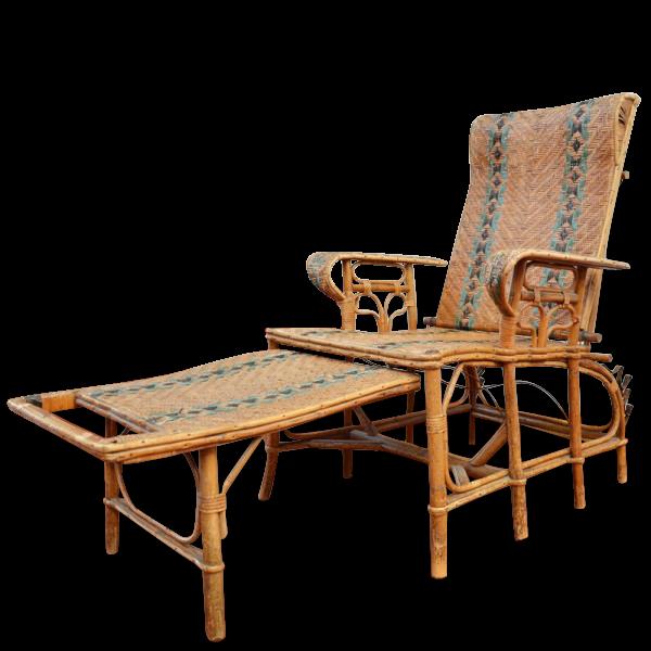 Chaise Longue En Rotin Rotin Et Osier Vintage 12870