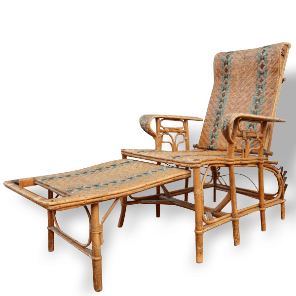 Chaise longue en rotin rotin et osier vintage 12870 for Chaise longue rotin