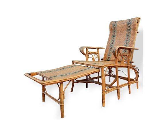 chaise longue en rotin rotin et osier vintage 12870. Black Bedroom Furniture Sets. Home Design Ideas