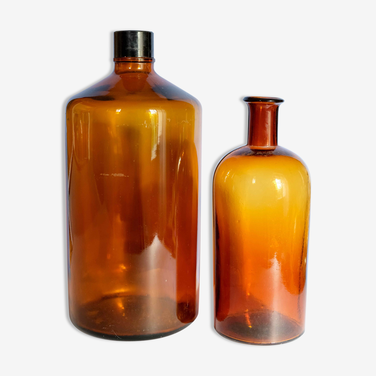Set of apothecary vials made of thick amber glass