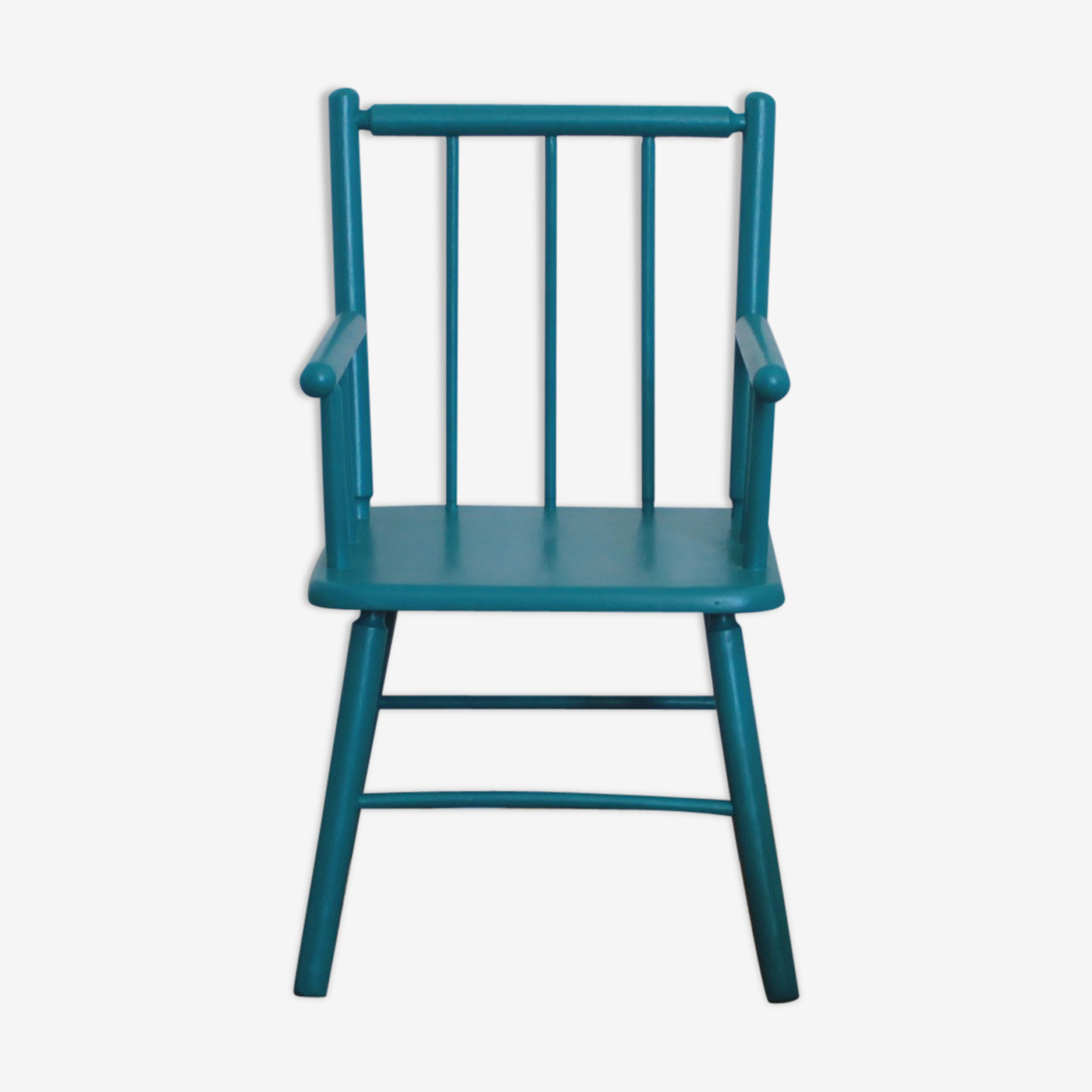 Chaise en bois bleu canard