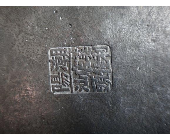 Théière Chinoise en étain de fo marque Qing XIX