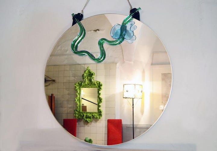 Mirror with Murano Glass Decoration by Nanda Vigo for Morphos, 1985