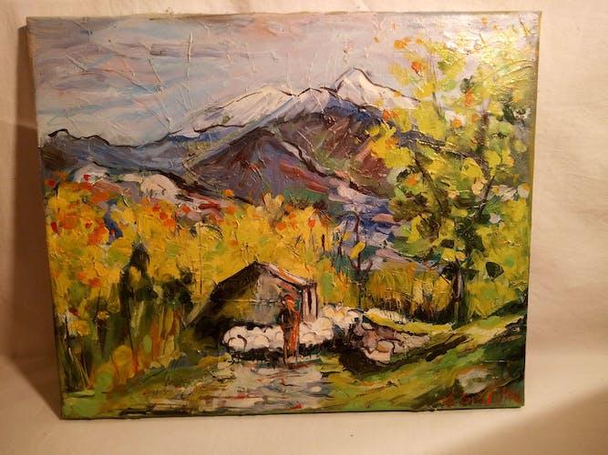 """Peinture à l'huile sur toile """" vue sur le Ganigou"""" signée de l'Atelier d'art Françoise Griffiths"""