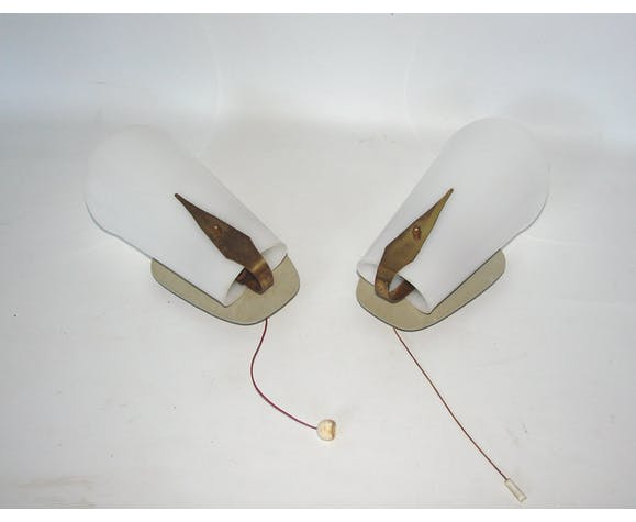 Pair of 50s modernist wall sconces