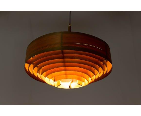 1960s Hans-Agne Jakobsson Wooden Pendant Lamp for AB Ellysett Markaryd, Sweden