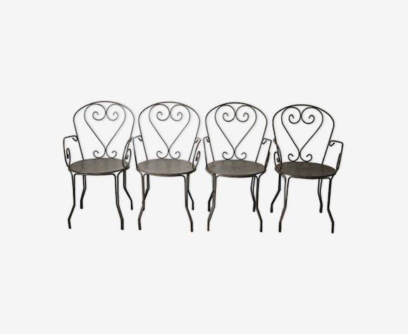 Série de 4 fauteuils de salon de jardin en fer plein forgé années 60 ...