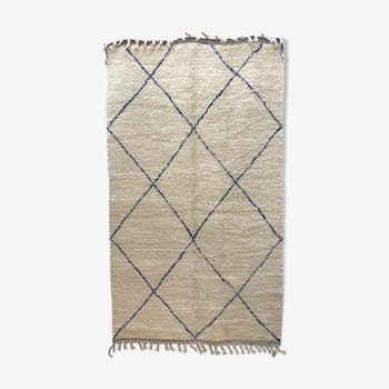 Berber carpet Beni Ouarain with majorelle blue diamonds 250 x 148cm
