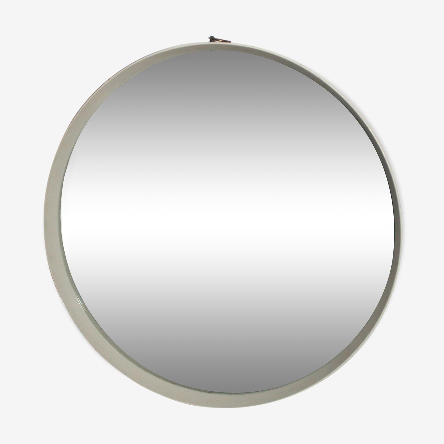 Former large mirror round vintage 60's D75cm wood