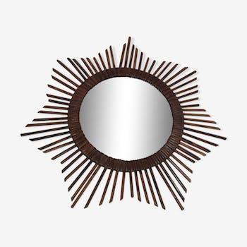 Rattan sun mirror 50 x 50 cm