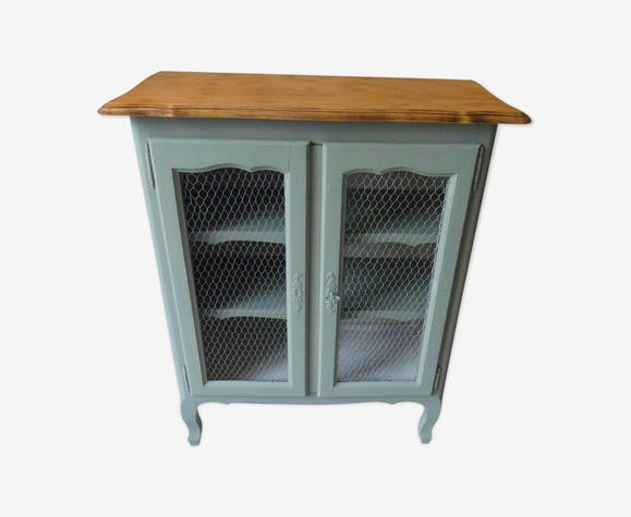 Cabinet Buffet To The Mesh Doors Patinated Green Gray Wood Tray