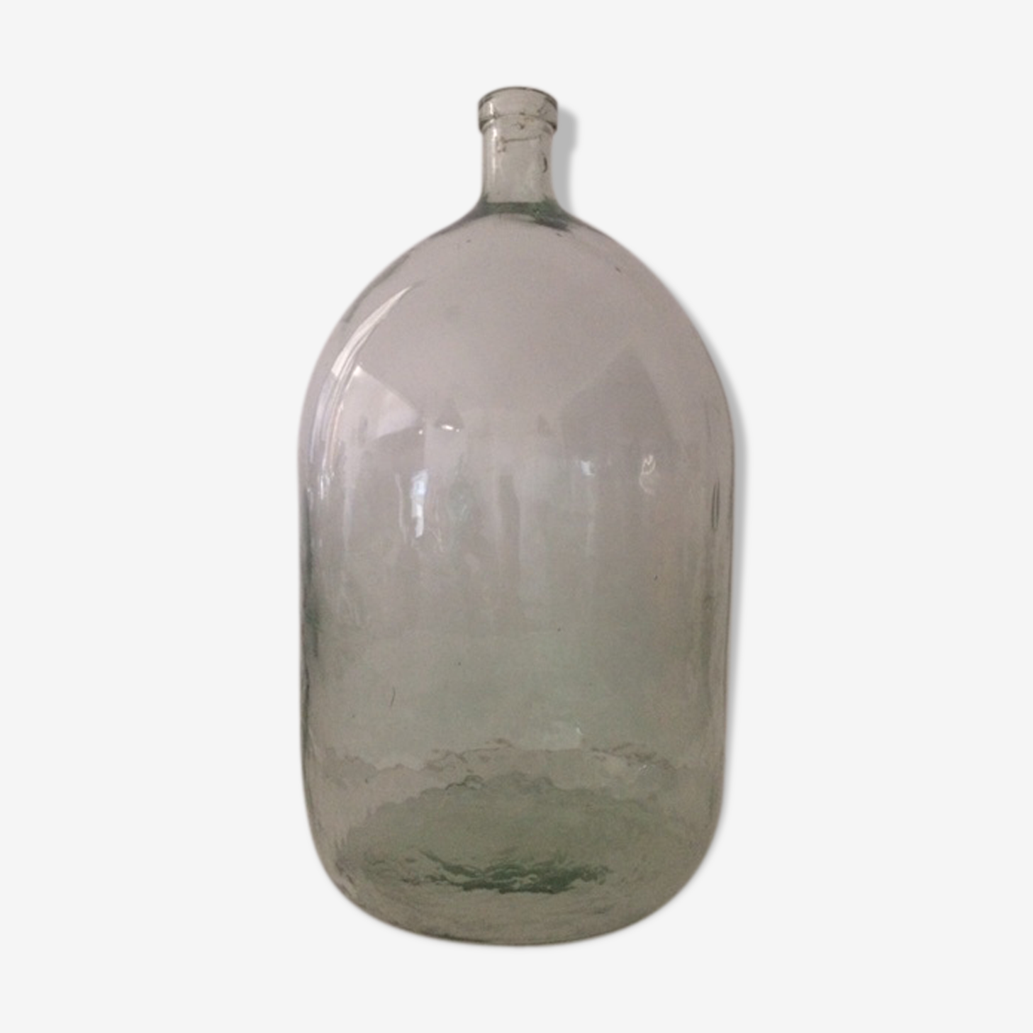 Transparent cylindrical demijohn about 35 l