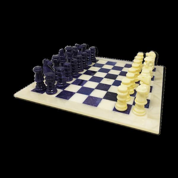 Jeu d'échecs bleu et beige des années 1970 en albâtre de Volterra fabriqué à la main en Italie