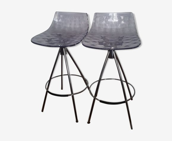 Pair of Calligaris model stools Connubia Ice, seated 65cm
