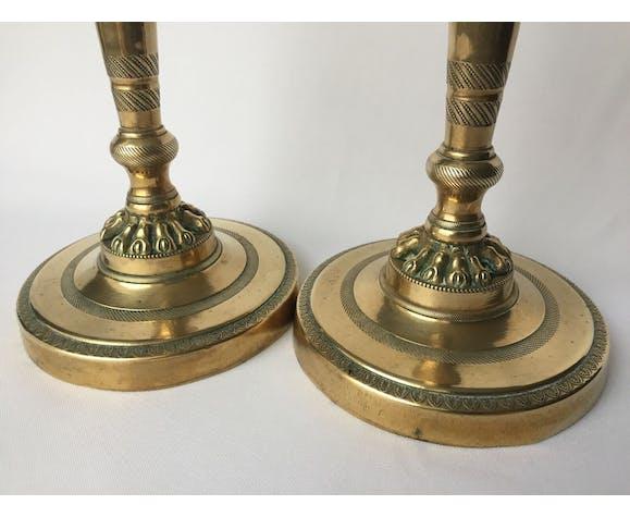 Pair of bronze candlesticks beginning of 19th century restoration period guilloché