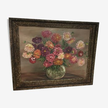 Oil painting on floral decoration panel by René Mary