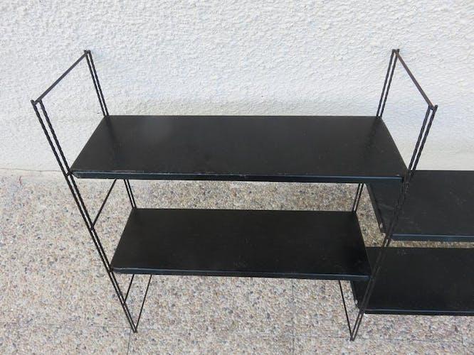 Etagère string, modulable en métal laqué noir années 50/60