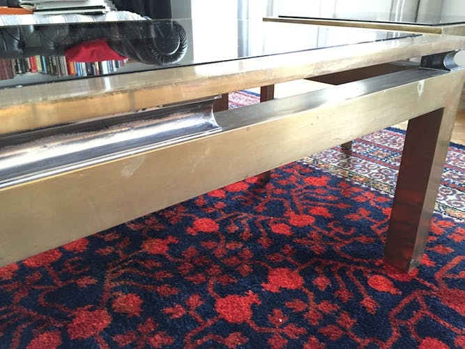 Trio of brass coffee tables
