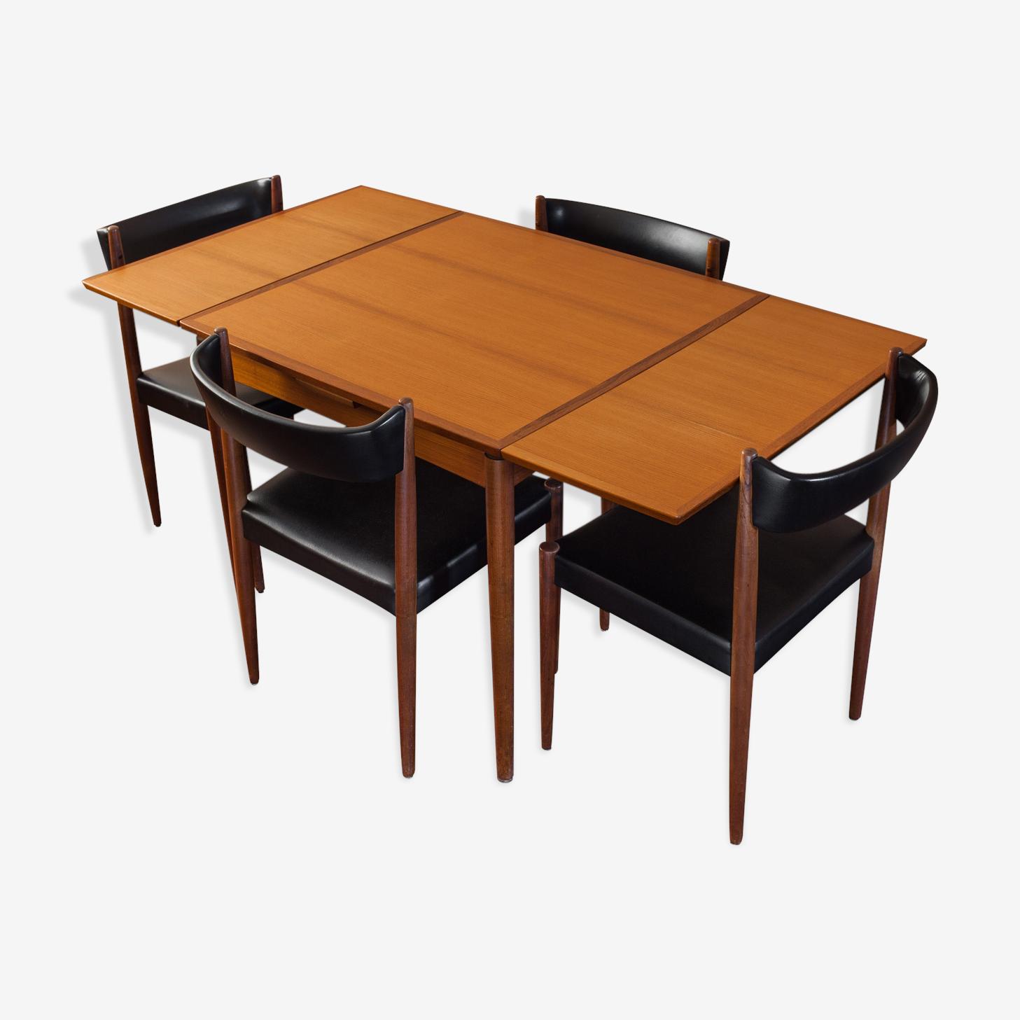 Roche Et Bobois Chaises table roche bobois en teck et 4 chaises 1969 - teck - bois (couleur