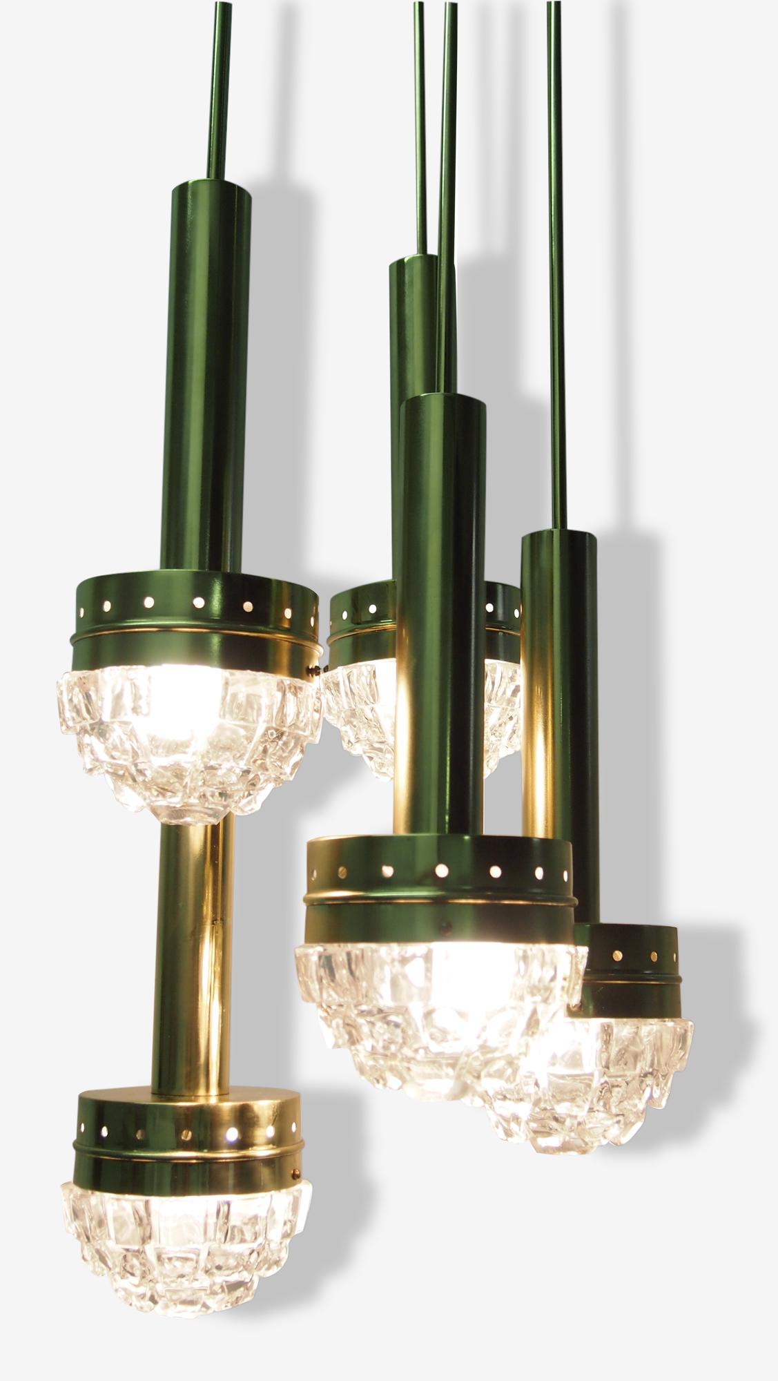 Suspension Lustre FAGERLUND Sputnik Cascade Mid Century Kalmar Moderne Brutaliste Verre Taille Murano Chandelier Pendant Ceiling Light Brutalist Glass Swedish