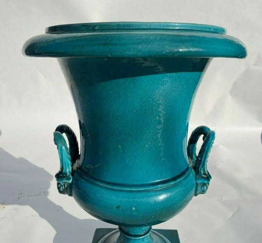 Medicis sur colonne ceramique bleue terre cuite ancienne 1940 1950