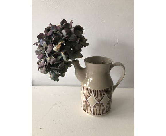 Vintage enameled ceramic pitcher