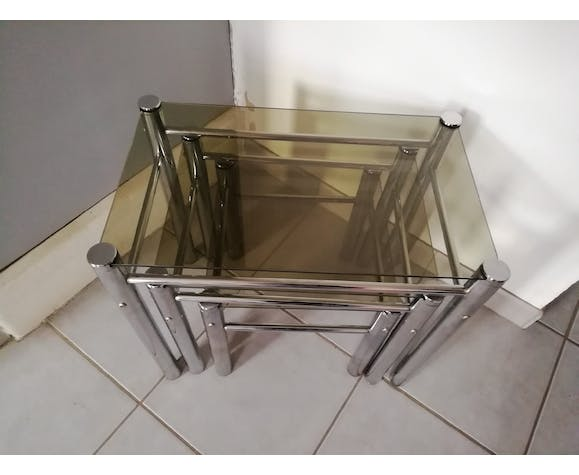 70s glass nesting tables