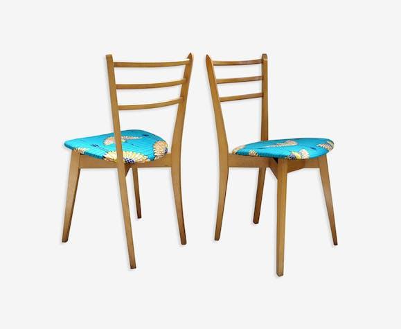 Paire de chaises vintage retapissées wax