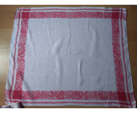 12 Ancient towel embroidered monogrammed JC floral red litter Napoleon III