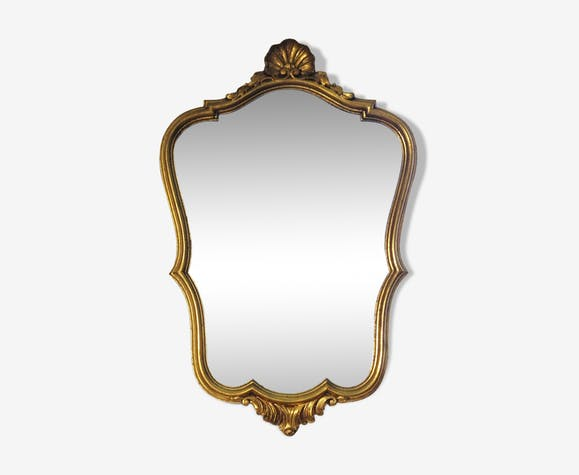 Golden wooden mirror 51 x 34 cm