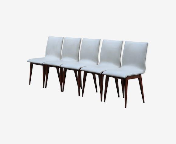 Chaises en simili cuir et en bois des années 50 en France
