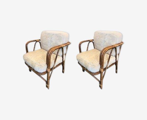 Paire de fauteuils en osier