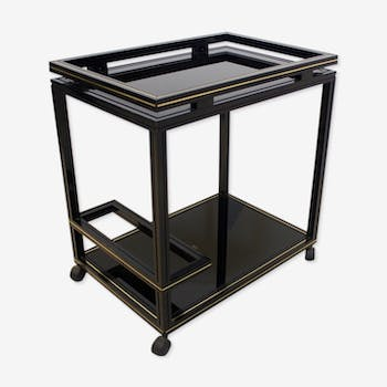 Pierre Vandel paris black & gold french barcart, 1970
