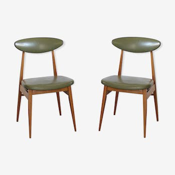 Vintage beech and olive green skai chairs