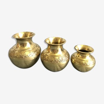 Three small brass vases