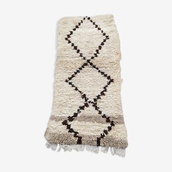Tapis berbere beni ouarain en laine fait main 210x100 cm
