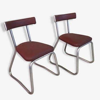Une paire de chaises en skaï années 40