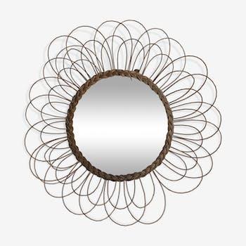 Miroir soleil fleur rotin vintage 1960 - 65 cm