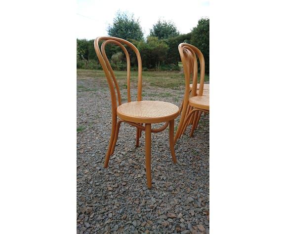 Suite 4 chaises en bois clair Thonet ZPM Radomsko