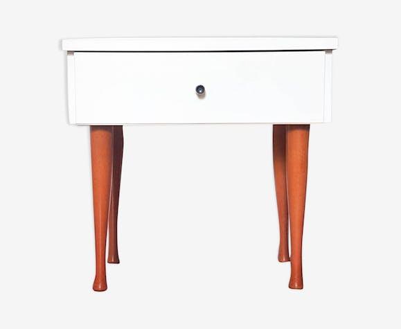 Table de chevet blanc scandinave meuble relooké vintage chambre unique cadeau original cadeau deco année 50 blanc bois mid century moderne