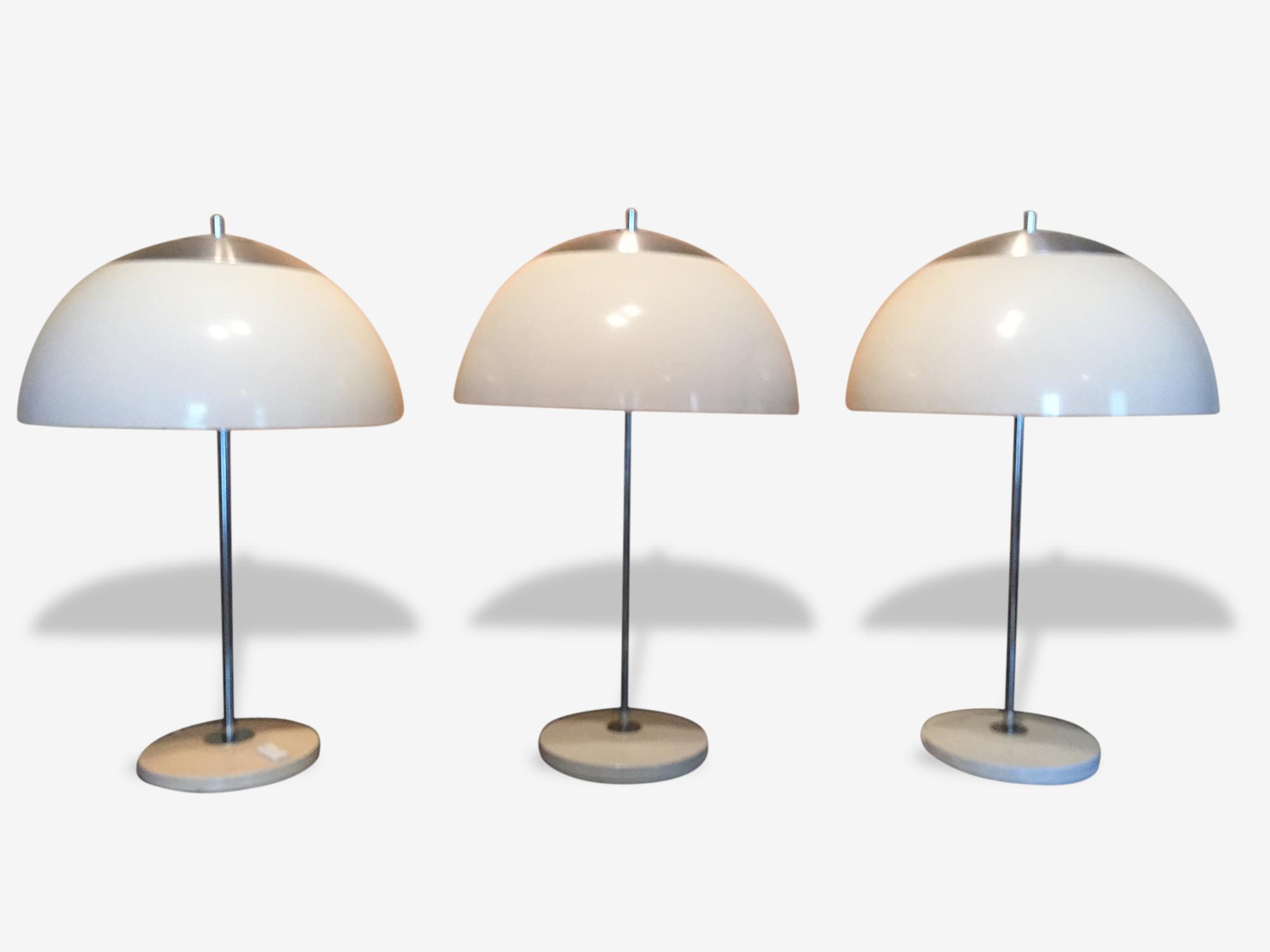 Lampe Champignon Vintage Unilux Plastic White Design 17382